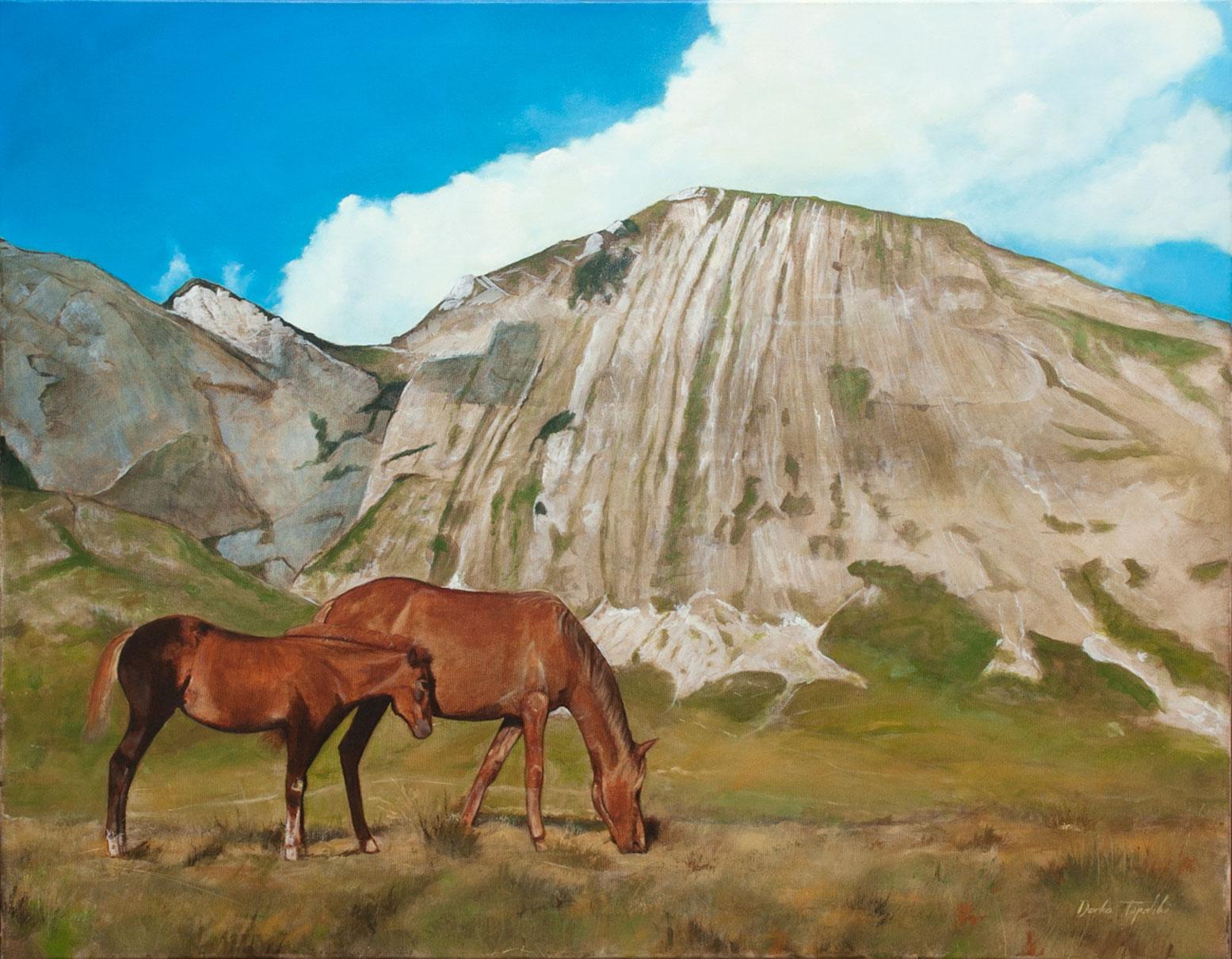 Divlji Konji (Prutaš) - 90x70, Ulje na platnu, umetnik Darko TOPALSKI