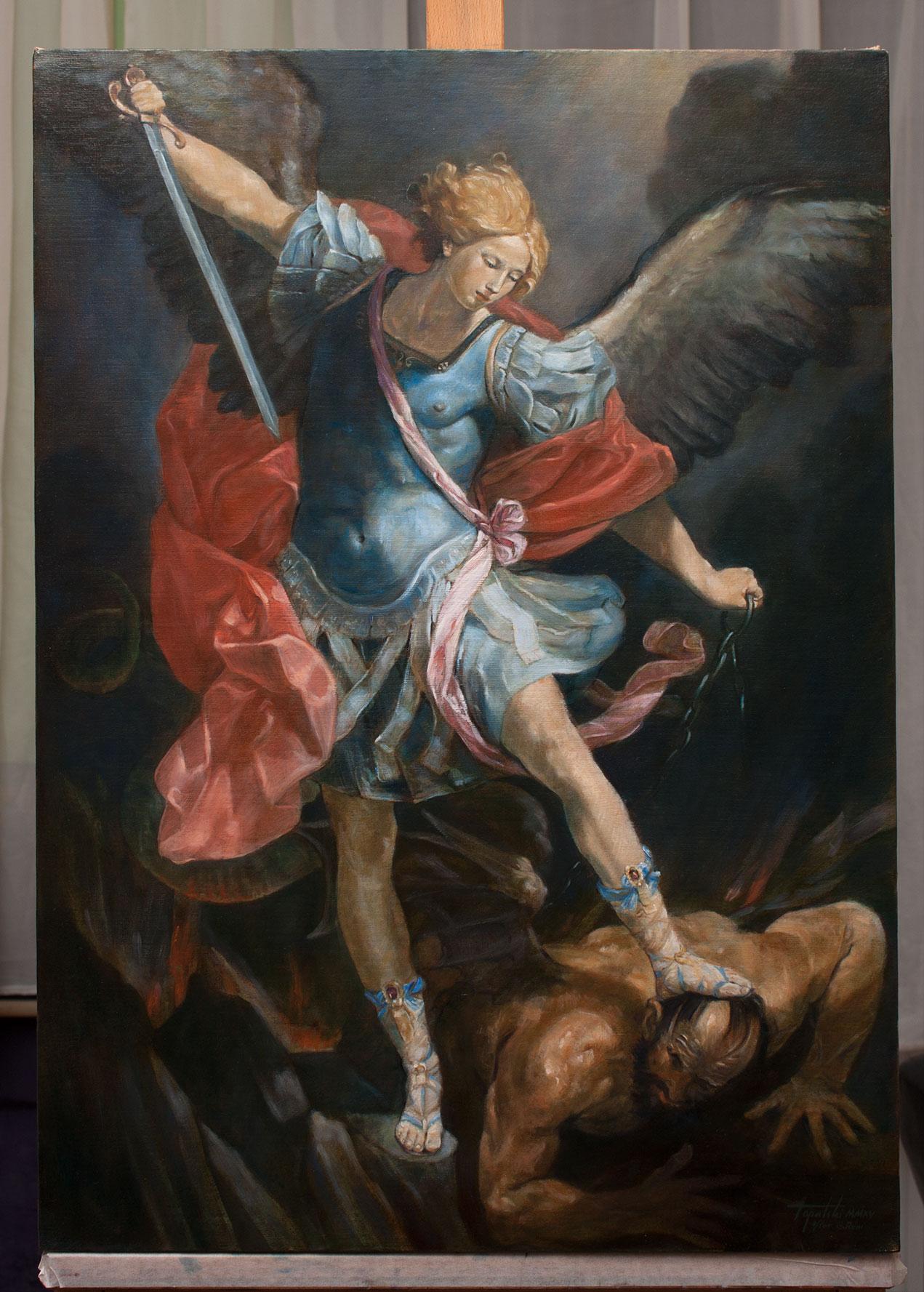 Arhangel Mihailo, 70x50cm, Ulje na platnu, po Guido Reni, umetnik Darko TOPALSKI