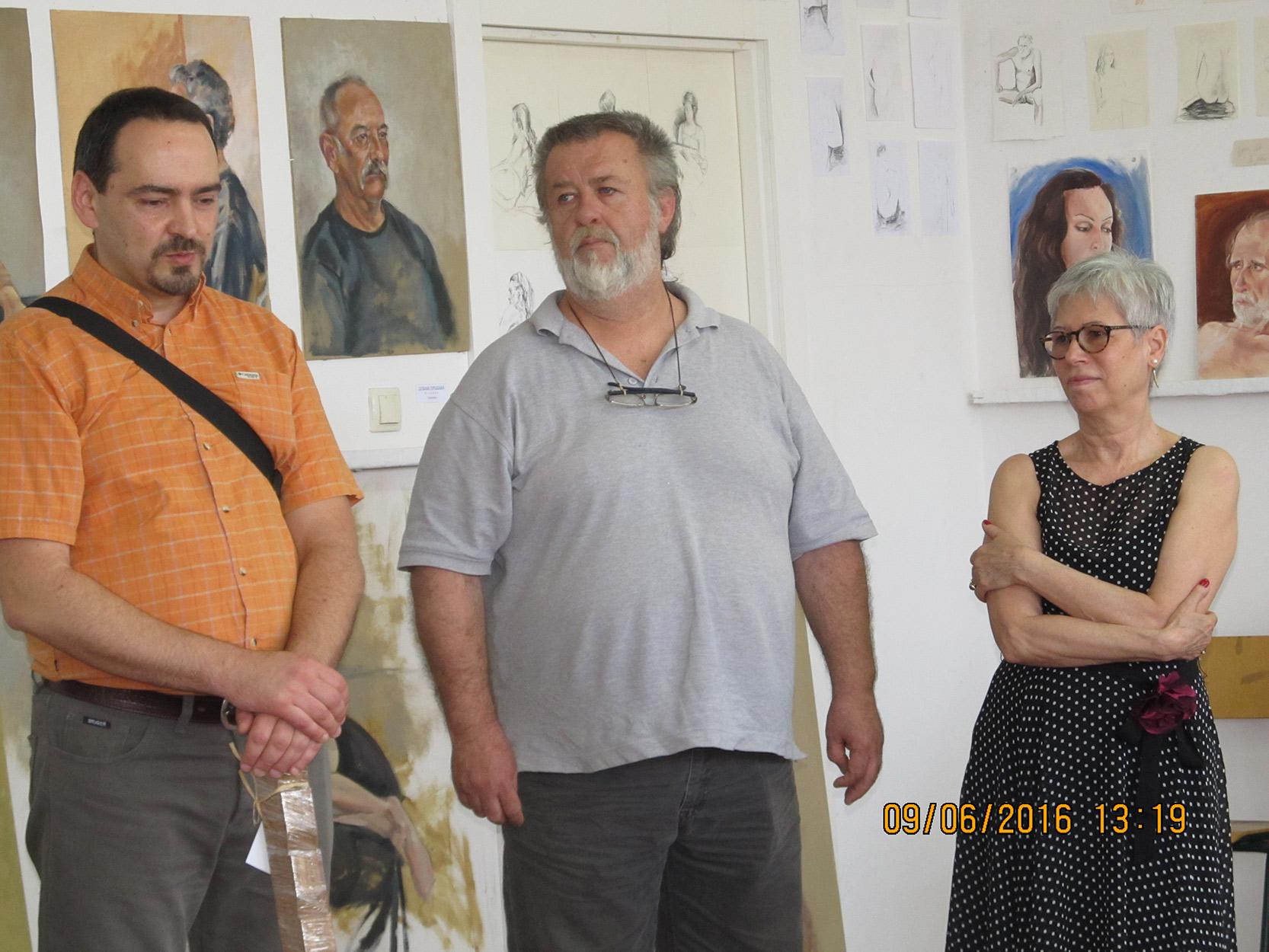Akademski Umetnik, slikar Darko Topalski sa prof. Draganom Martinovićem i dr. Jasnom Jovanov
