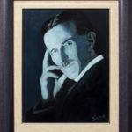 Nikola Tesla (plavi portret)- 40x30 (55x45), Ulje na platnu, umetnik Darko TOPALSKI