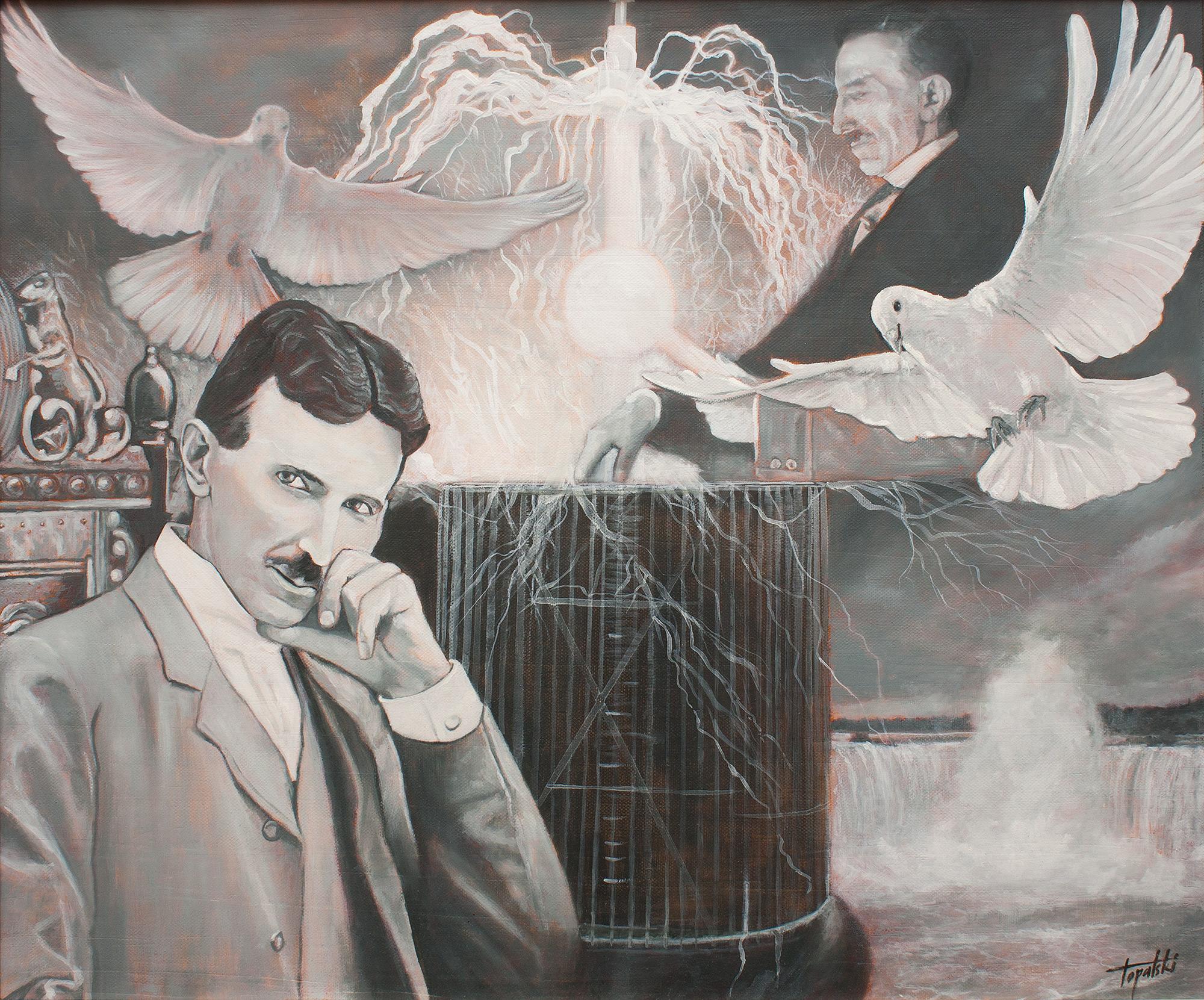 Nikola i Tesla, 60x50cm, Ulje na platnu, umetnik Darko TOPALSKI