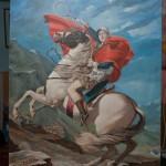 Nole na Alpima (Novak Djokovic na prelazu St Bernard) - 120x100, Ulje na platnu, umetnik Darko TOPALSKI