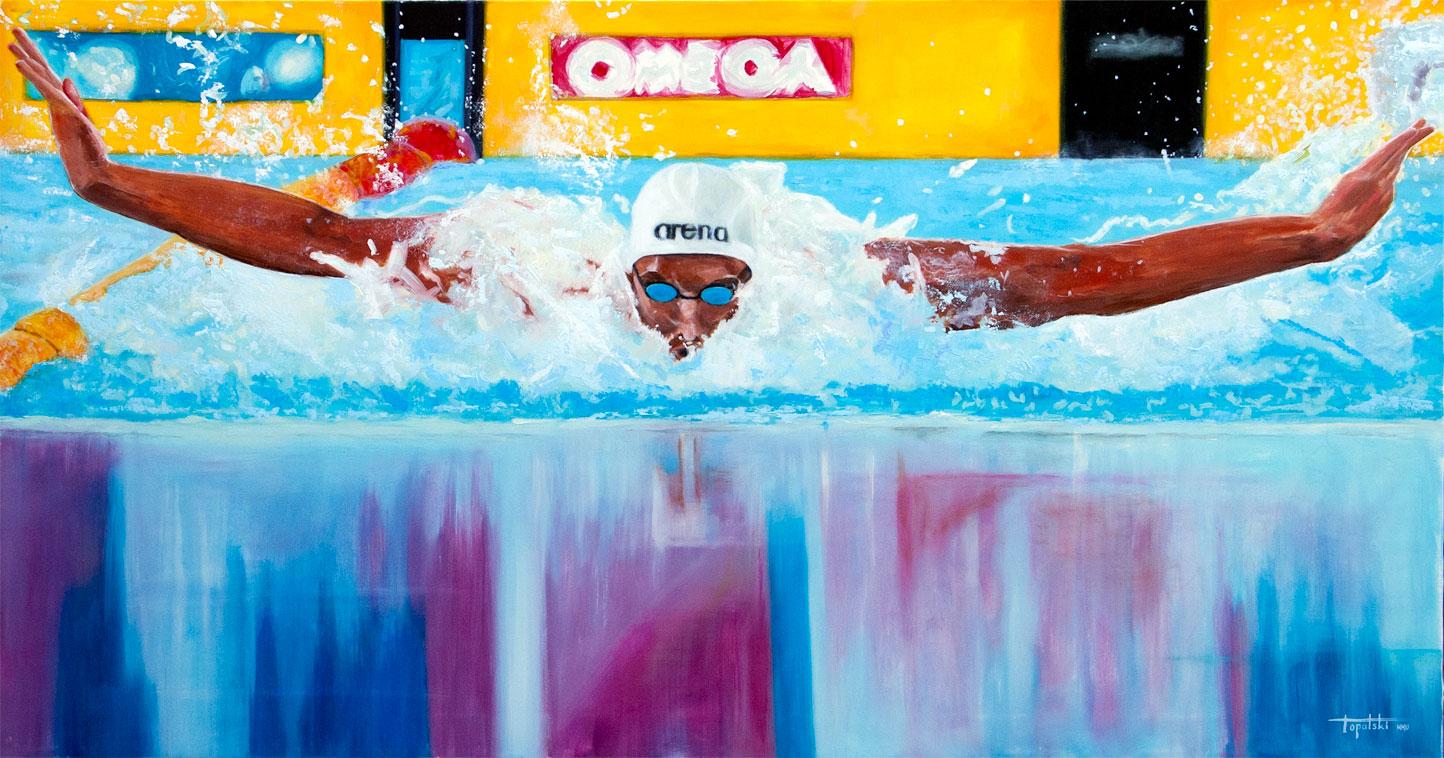 Plivac (Cavic na Fina kupu) - 130x70cm, Ulje na platnu, umetnik Darko TOPALSKI