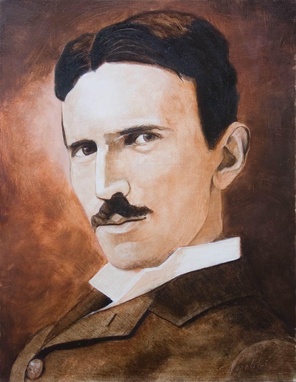 Umetnička Slika - Nikola Tesla Sepija Portret - 40x30cm, 2011. Ulje na platnu umetnik Darko Topalski