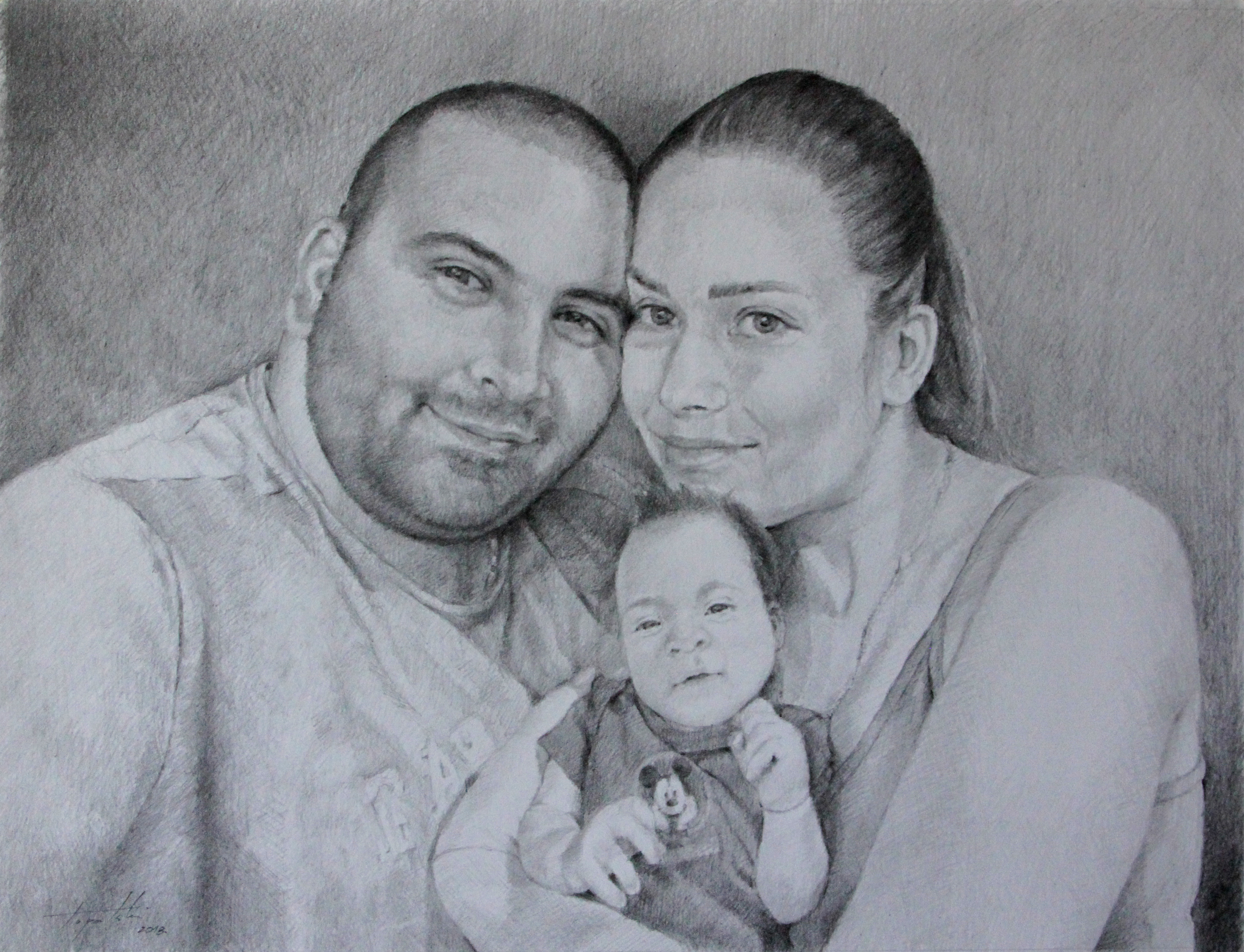 Porodičan Portret - 30x40cm, 2018. Crtež olovka umetnik Darko Topalski