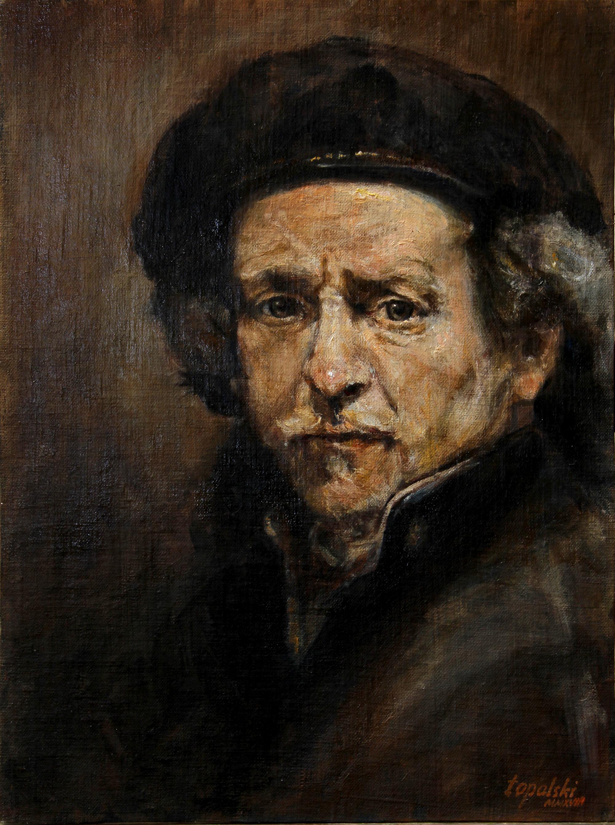 Rembrandt nakon Rembrandta - 30x40cm, 2018. Ulje na platnu umetnik Darko Topalski
