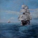Umetnička slika - Jedrenjak - 50x50cm Ulje na platnu - umetnik Darko TOPALSKI