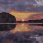 Umetnička slika - Sumrak na reci - 30x40cm Ulje na platnu - umetnik Darko TOPALSKI