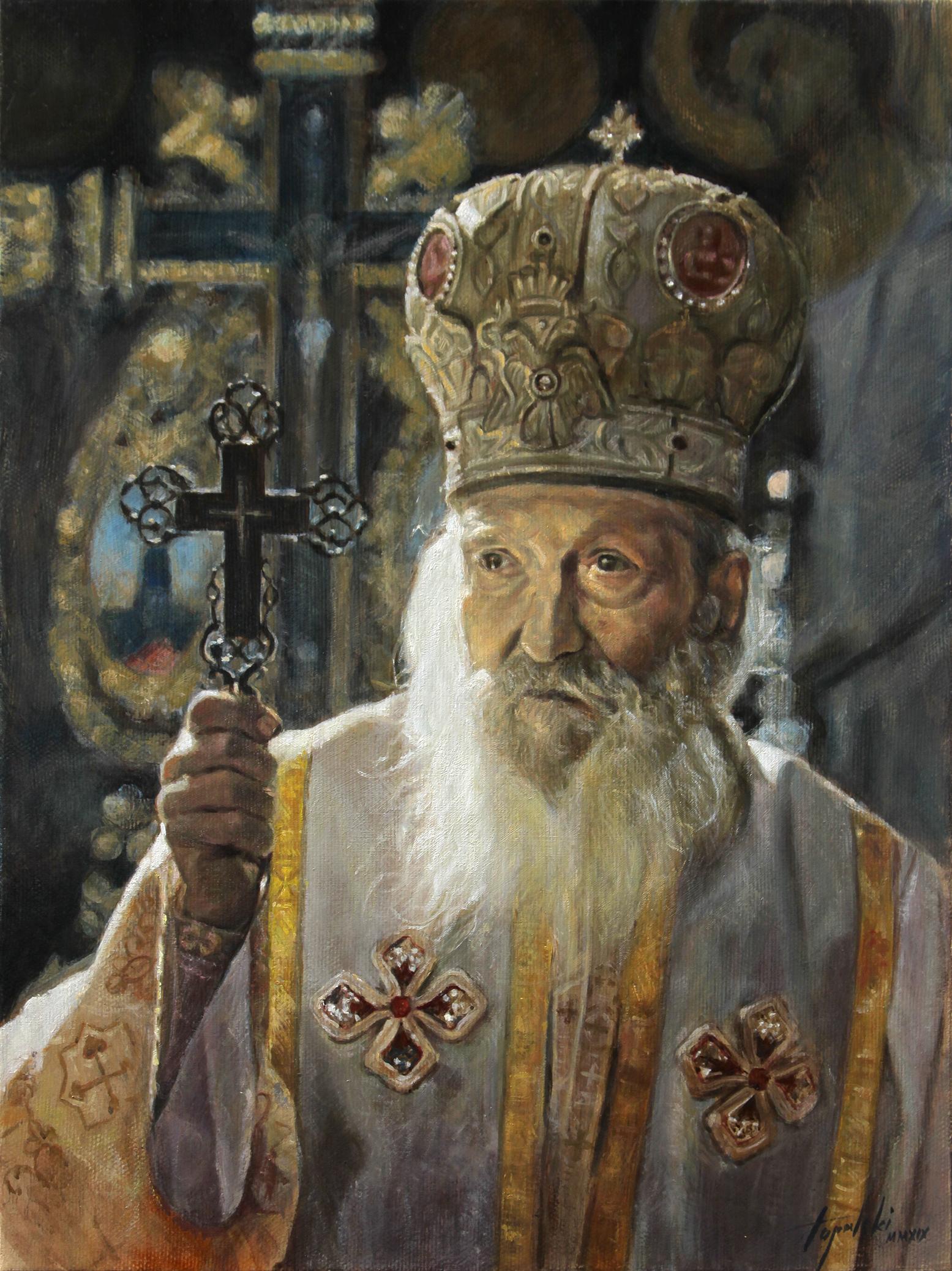 Umetnička slika -Srpski Patrijarh Pavle - 40x30cm-2019.-Ulje na platnu -umetnik Darko Topalski