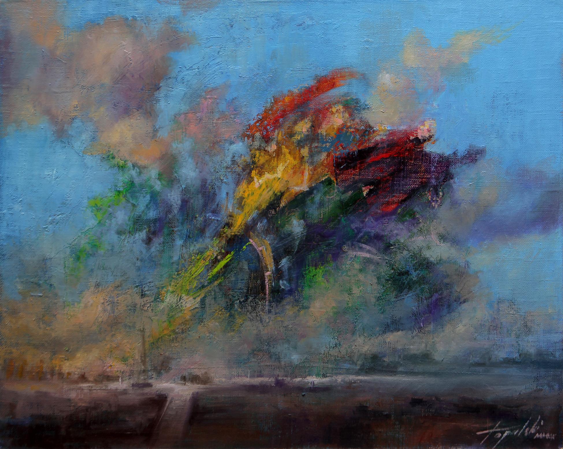 U toku - Fantasticni pejzaz - Umetnička slika 30x40cm Ulje na platnu - umetnik Darko TOPALSKI