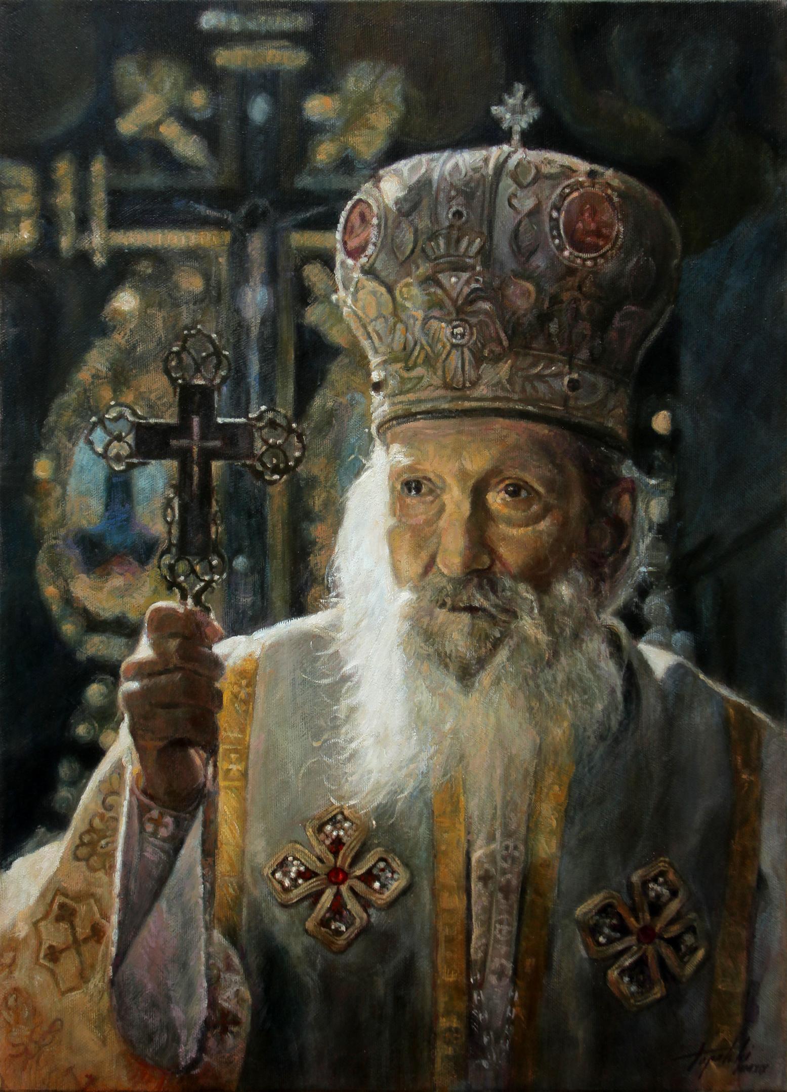 Српски Патријарх Павле - уље на платну 55x40цм, 2019.