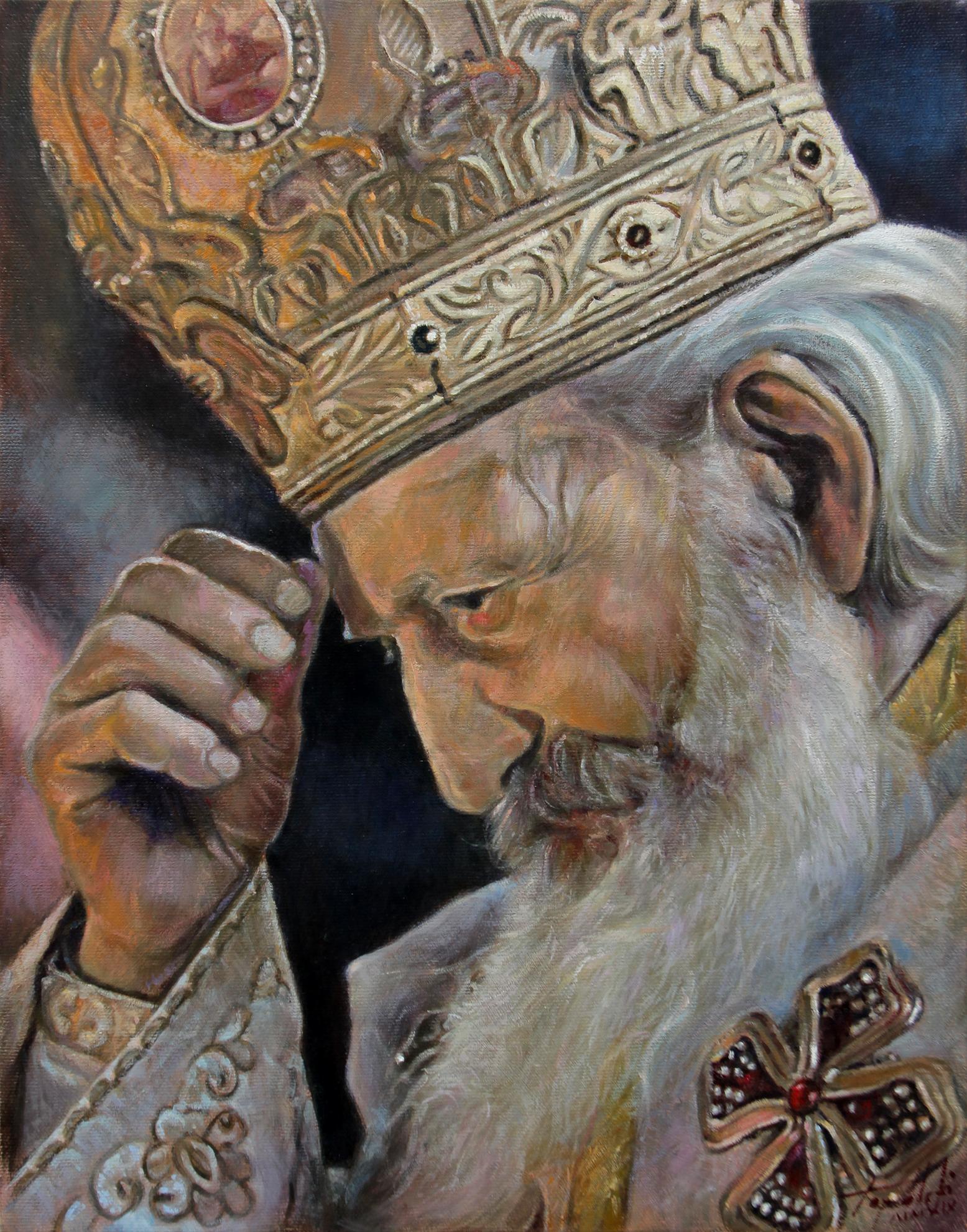 Српски Патријарх Павле - уље на платну 45x35цм, 2019.