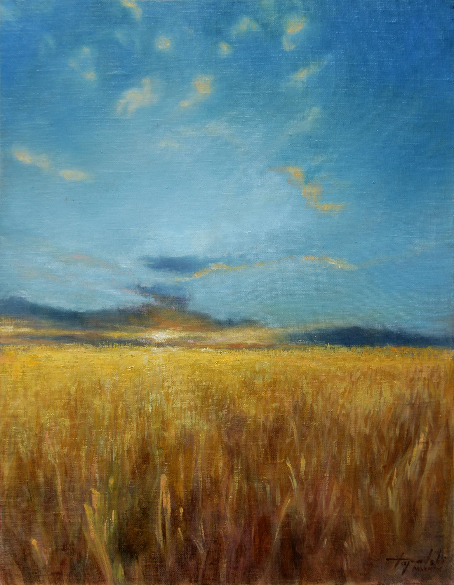 Žitno Polje - Umetnička slika 45x35cm Ulje na lanenom platnu kasiranom na sper - umetnik Darko TOPALSKI