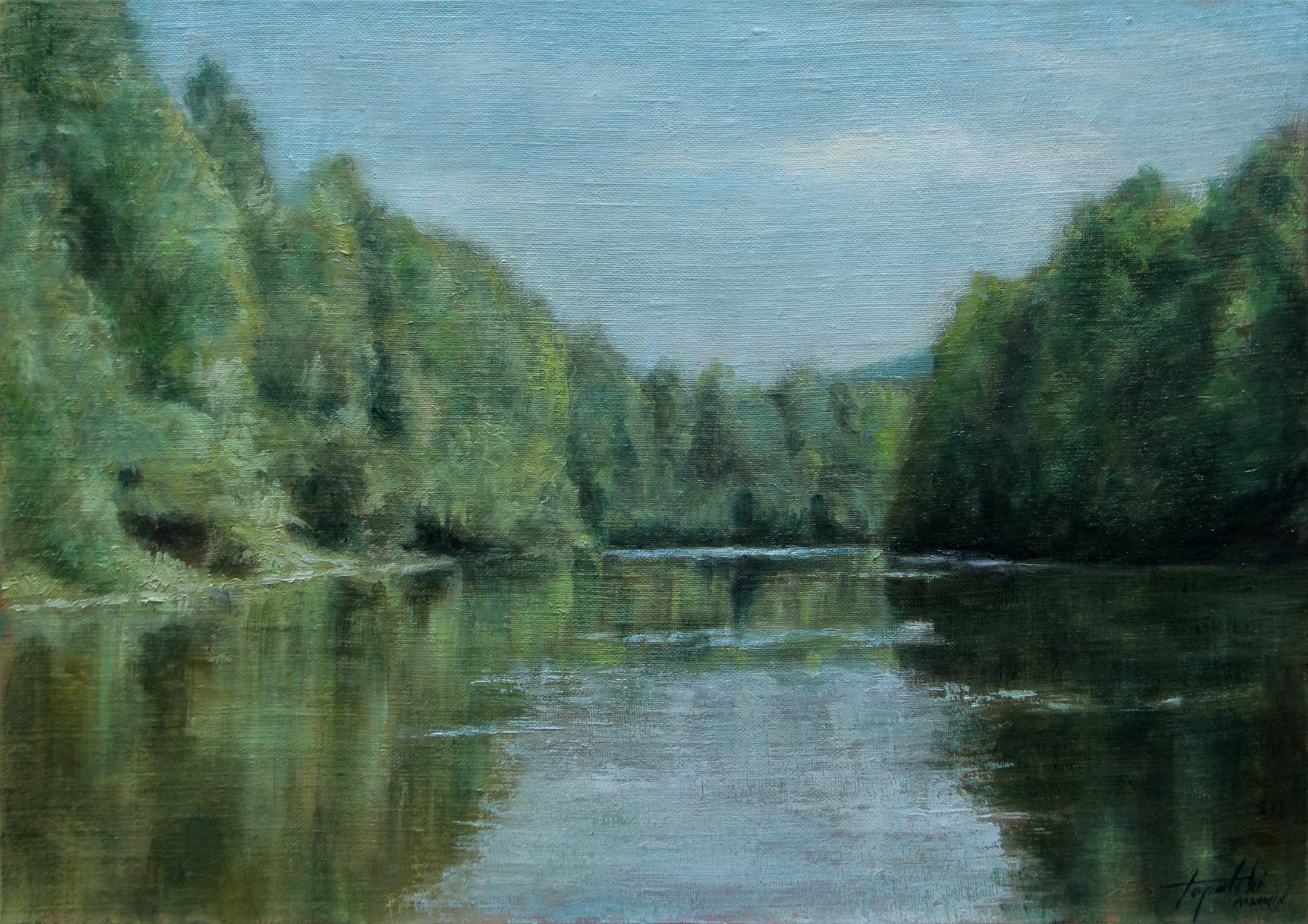 Reka - Umetnička slika 30x45cm Ulje na lanenom platnu kasiranom na sper - umetnik Darko TOPALSKI