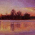 Sumrak na reci - Umetnička slika 30x45cm Ulje na lanenom platnu kasiranom na sper - umetnik Darko TOPALSKI