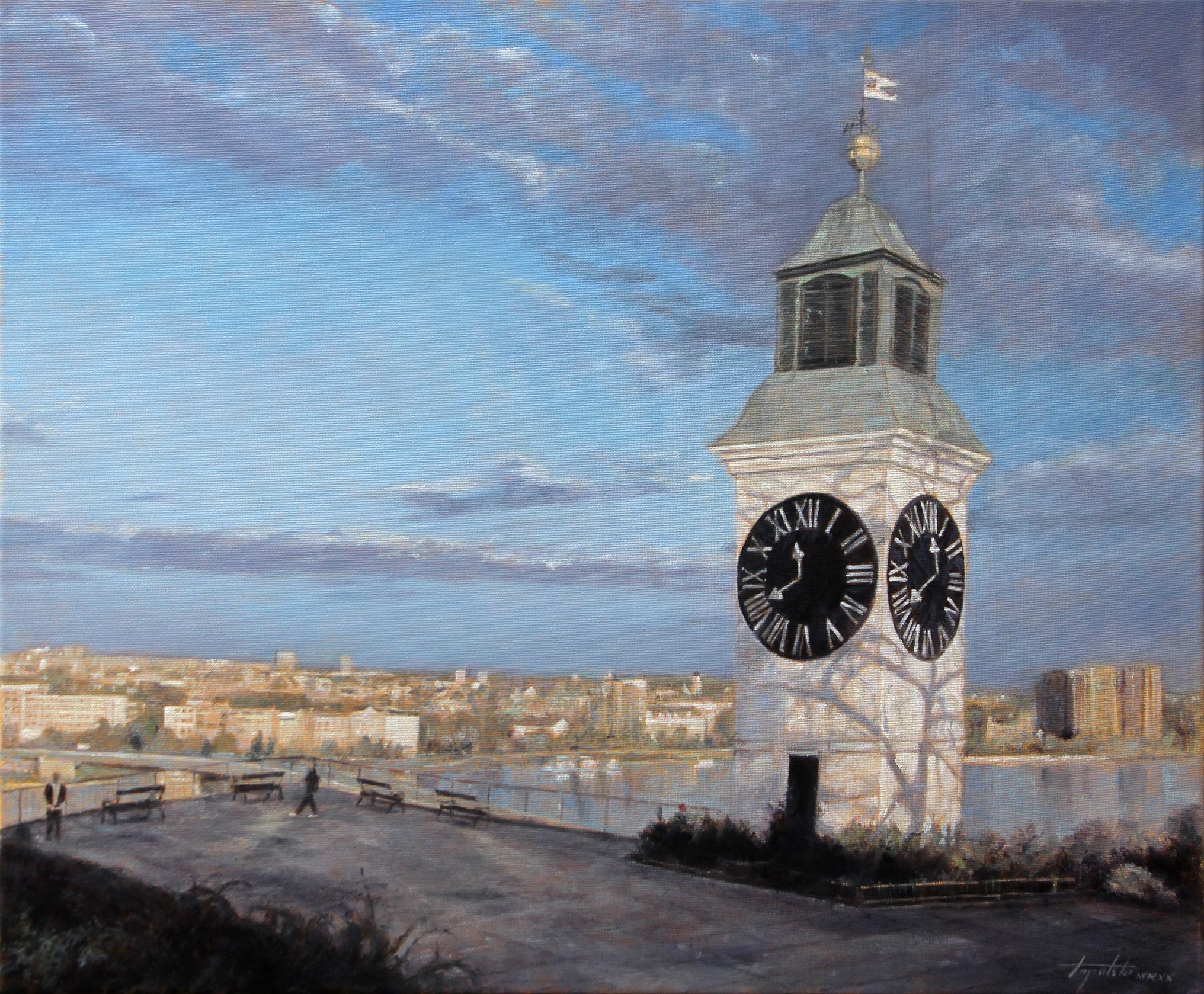 Pogled sa tvrdjave - Umetnička slika 50x60cm Ulje na platnu - umetnik Darko TOPALSKI
