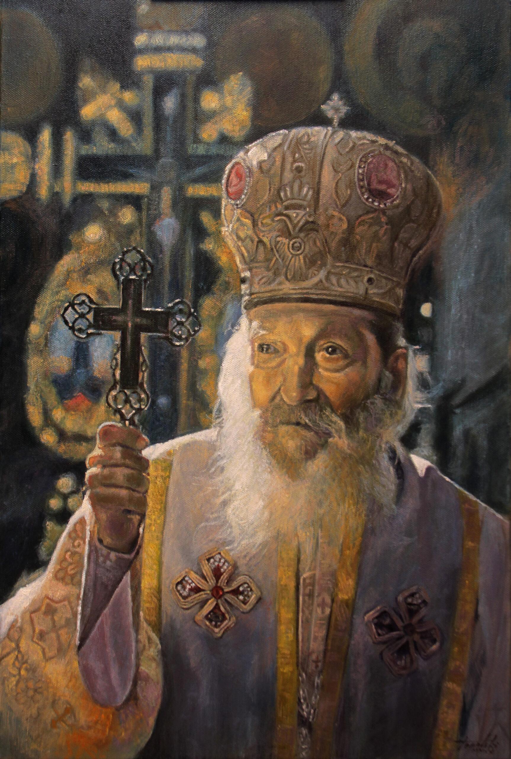 Српски Патријарх Павле - уље на платну 60x40цм, 2020. аутор - сликар Дарко Топалски