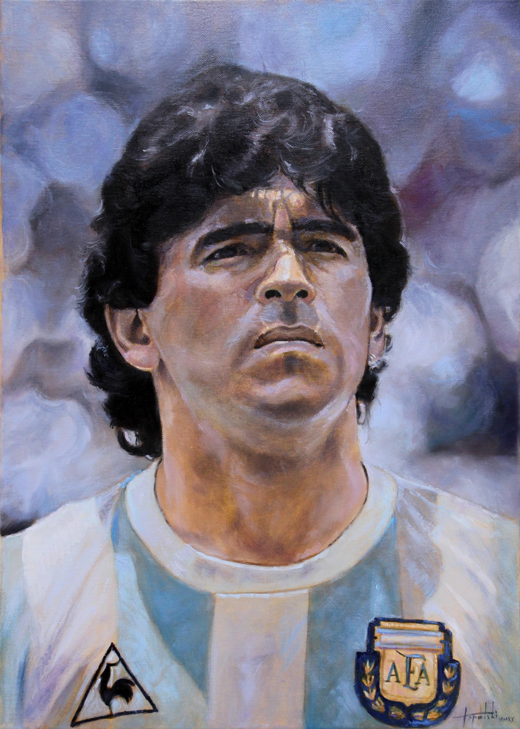 Umetnička slika - Diego Armando Maradona - Portret 70x50cm Ulje na platnu - umetnik Darko TOPALSKI