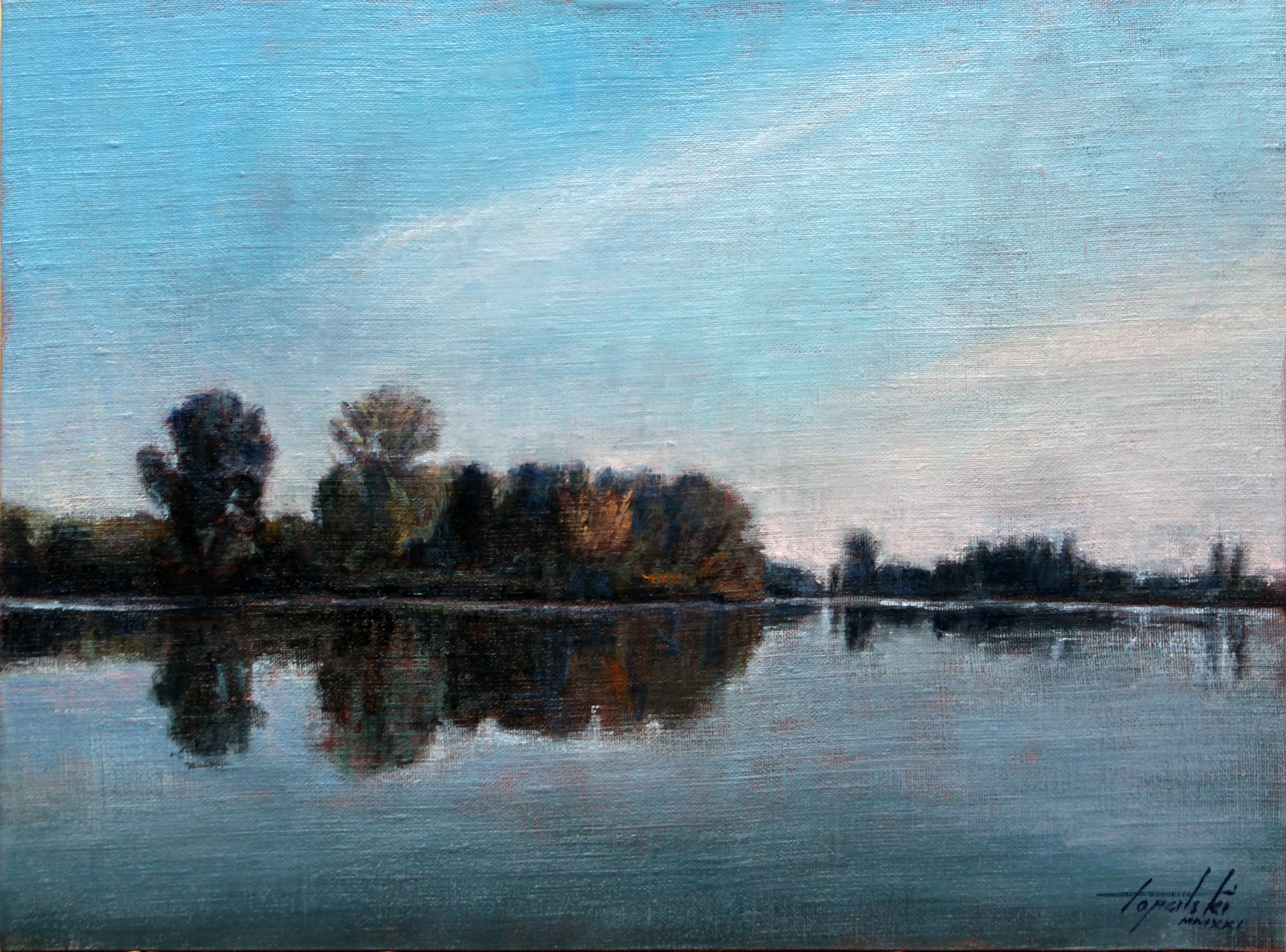 Kraj Reke (Tisa) - Umetnička slika 30x40cm Pejzaz Ulje na platnu - umetnik Darko TOPALSKI