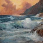 Zalazak na moru - Umetnička slika 25x30cm Pejzaz Ulje na platnu 2021. - umetnik Darko TOPALSKI
