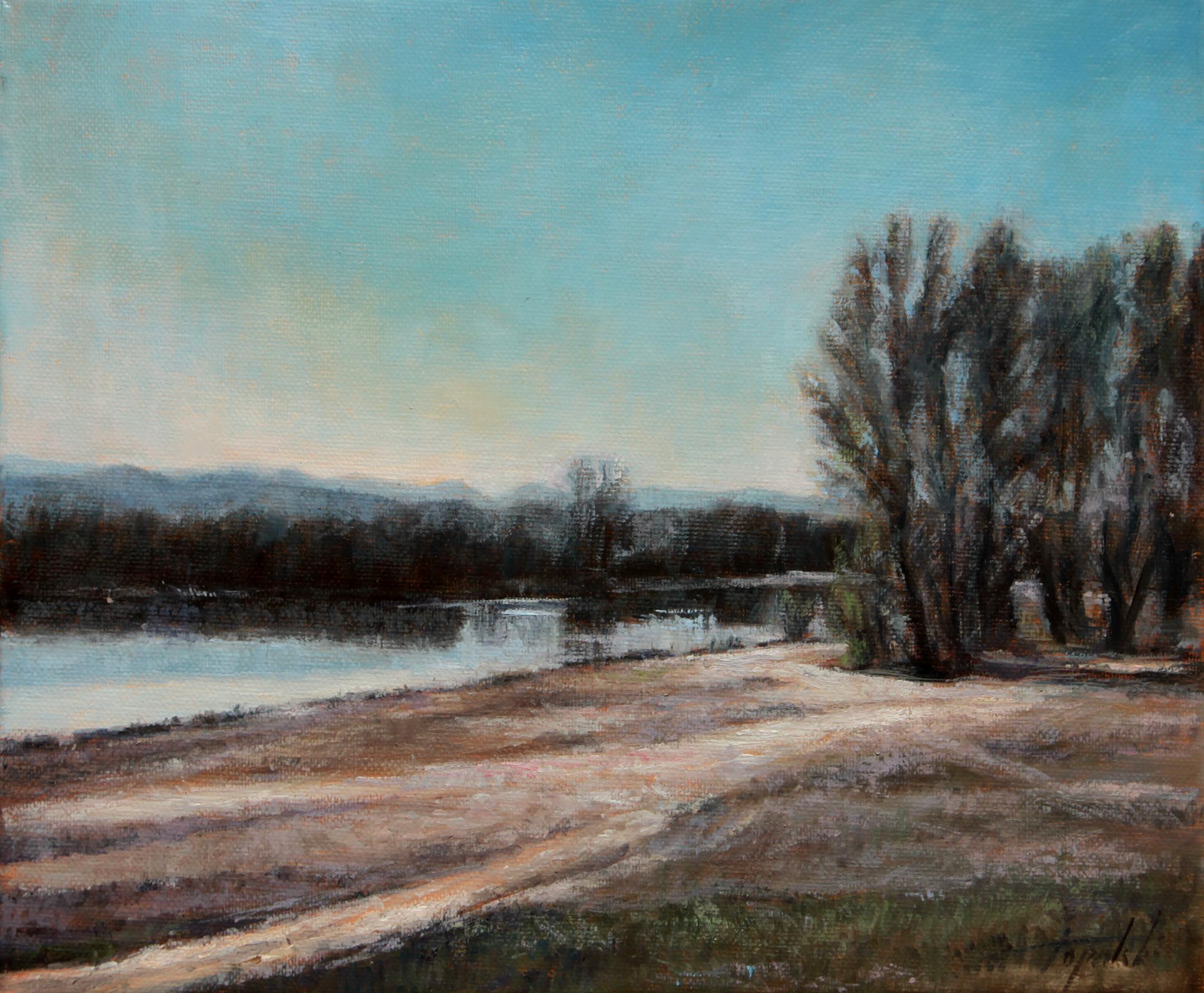 Zapis Dunavca - Novosadski Šodroš - Umetnička slika 25x30cm Pejzaz Ulje na platnu - umetnik Darko TOPALSKI