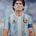 Umetnička slika - Portret - Diego Armando MARADONA - Veliki - 70x50cm-2021.-Ulje na platnu -umetnik Darko Topalski